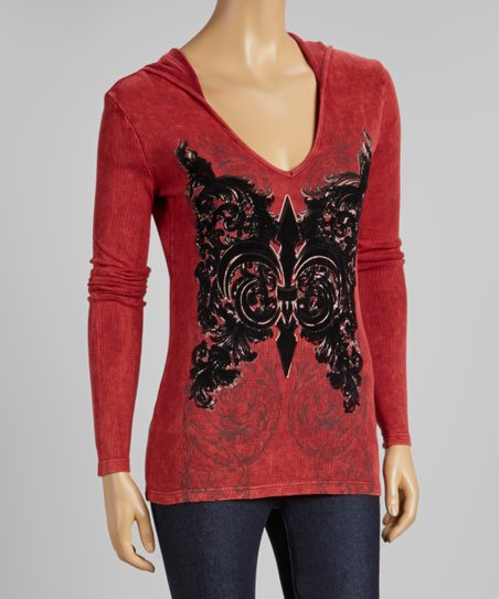 Burgundy & Black Filigree Acid Wash Hooded Thermal