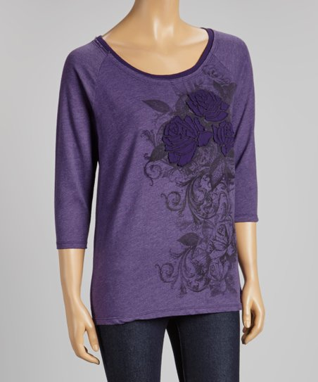 Purple Rose Applique Filigree Three-Quarter Sleeve Sweatshirt