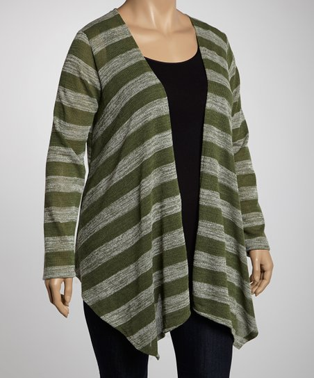 Green Stripe Open Cardigan - Plus