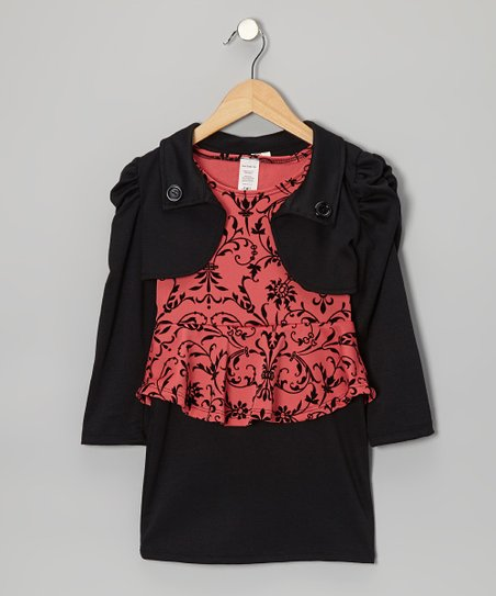 Coral & Black Floral Dress & Shrug - Girls