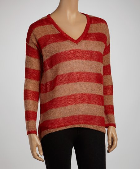 Red & Beige Stripe Wool-Blend Sweater