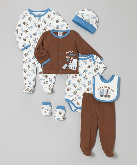 Brown & Blue Cement Mixer Layette Set - Infant