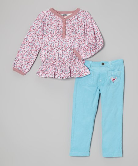 Pink Floral Peasant Blouse & Aqua Pants - Infant & Toddler