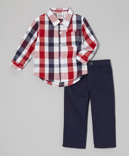 Red & Black Plaid Button-Up & Pants - Infant & Toddler
