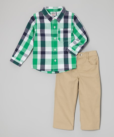 Green & Black Plaid Button-Up & Pants - Infant & Toddler
