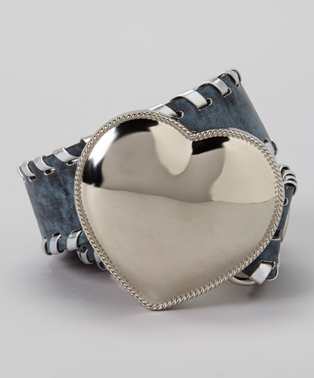 Blue & Silver Heart Leather Belt