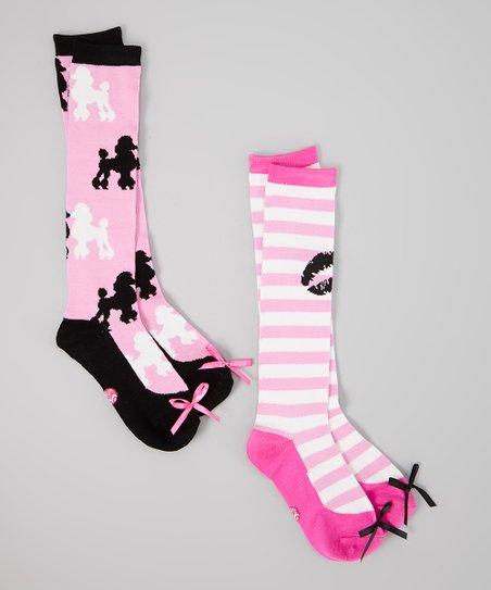 Pink & Black Poodle Stripe Sock Set