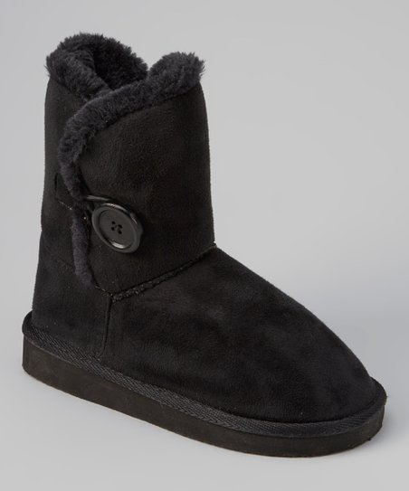 Black Shearling Button Boot