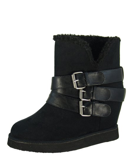 Black Buckle Wynter Wedge Boot