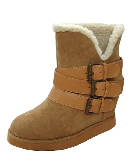Camel Buckle Wynter Wedge Boot