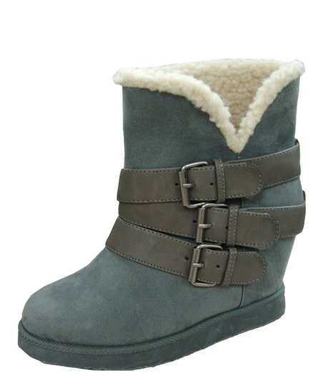 Gray Buckle Wynter Wedge Boot