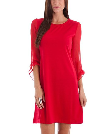 Red Ruffle Bell-Sleeve Dress