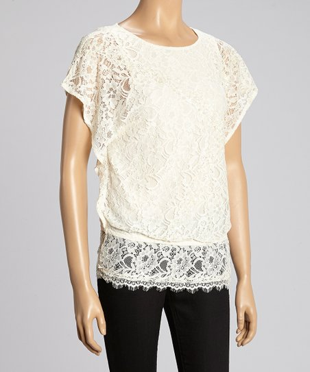 Ivory Lace Cape-Sleeve Top