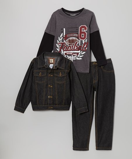 Gray 'Football' Denim Jacket Set - Toddler & Boys