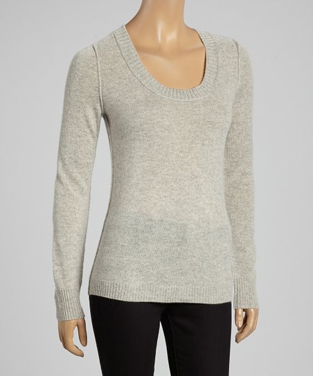 Heather Gray Scoop Neck Cashmere Sweater - Women
