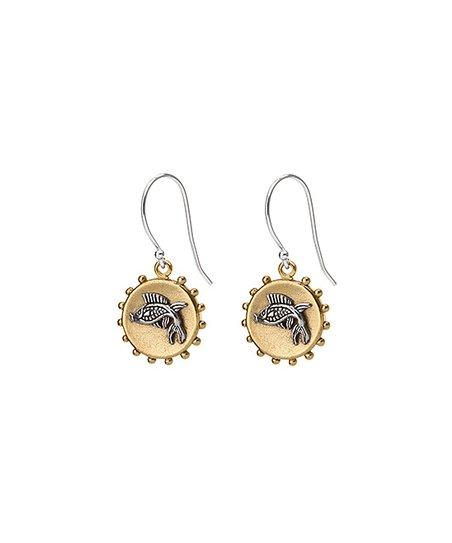Brass & Silver Fish Maritime Earrings