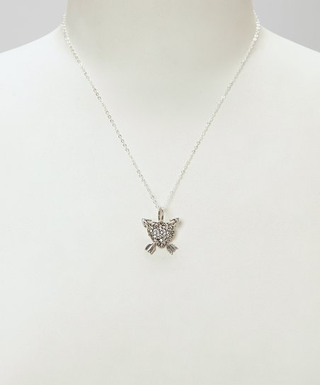 Silver Dedalian Heart & Arrows Pendant Necklace