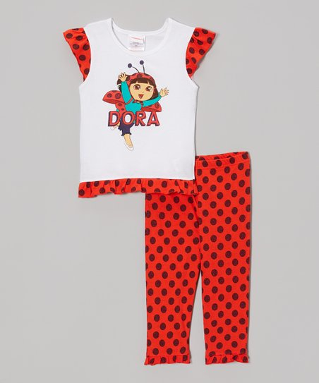 Red Ladybug 'Dora' Tee & Pants - Toddler