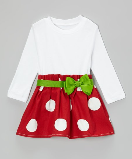 Red & Green Bow Dress - Infant & Toddler
