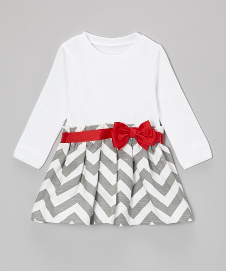 Gray & Crimson Bow Zigzag Dress - Infant & Toddler