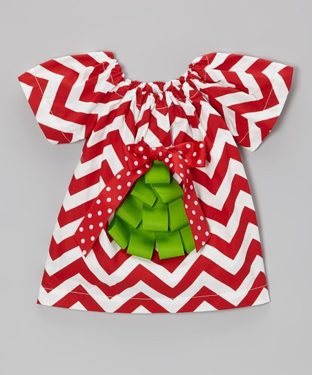 Red & Green Ribbon Dress - Infant & Toddler
