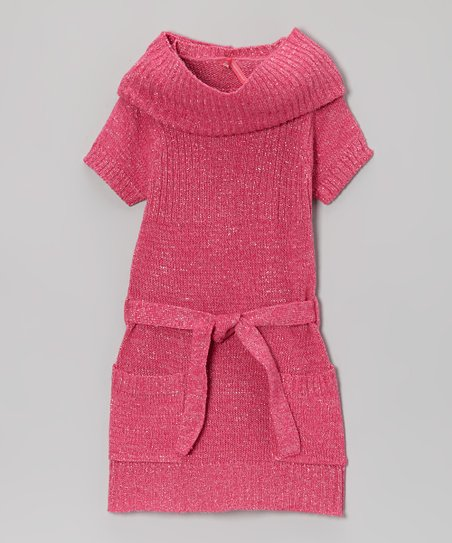 Fuchsia Holiday Sweater Dress & Scarf - Girls