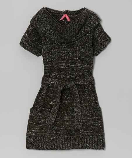 Black Holiday Sweater Dress & Scarf - Girls