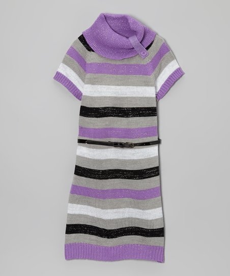 Purple & Gray Holiday Turtleneck Sweater Dress - Toddler