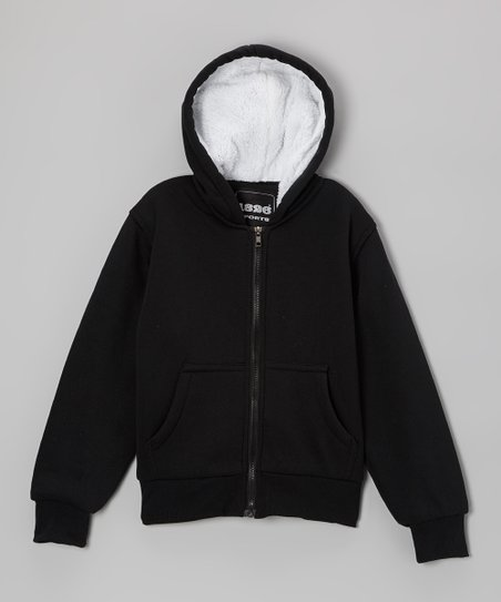Black Zip-Up Hoodie - Boys