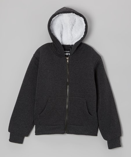 Charcoal Zip-Up Hoodie - Boys