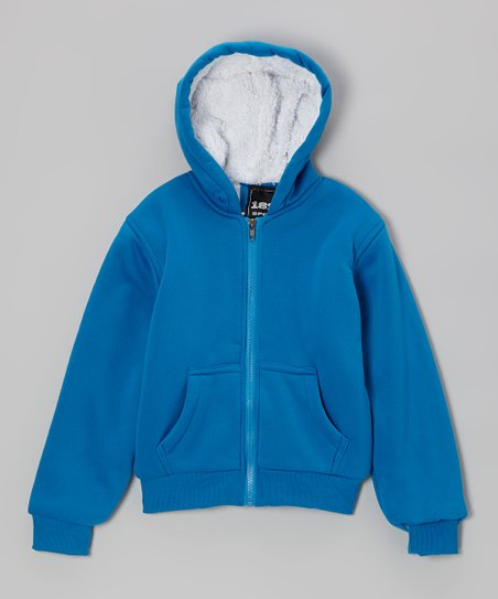 Royal Blue Solid Zip-Up Hoodie - Boys