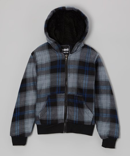 Black & Blue Plaid Zip-Up Hoodie - Boys