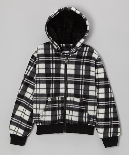 Black & White Plaid Zip-Up Hoodie - Boys