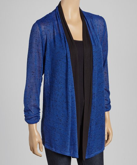 Cobalt & Black Three-Quarter Sleeve Open Cardigan
