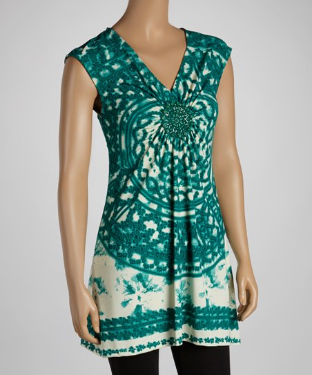 Teal Arabesque Sleeveless Top