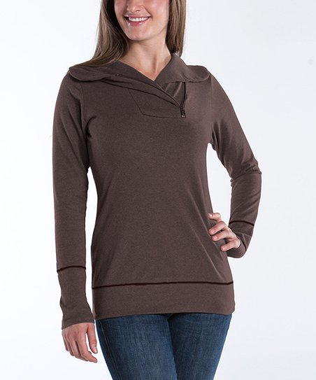 Earth Zip-Collar Camellia Sweater - Women