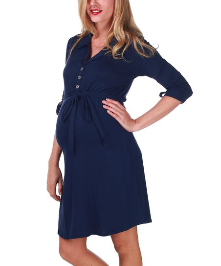 Navy Blue Empire-Waist Maternity & Nursing Dress