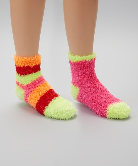 Pink & Yellow Stripe Fuzzy Socks Set