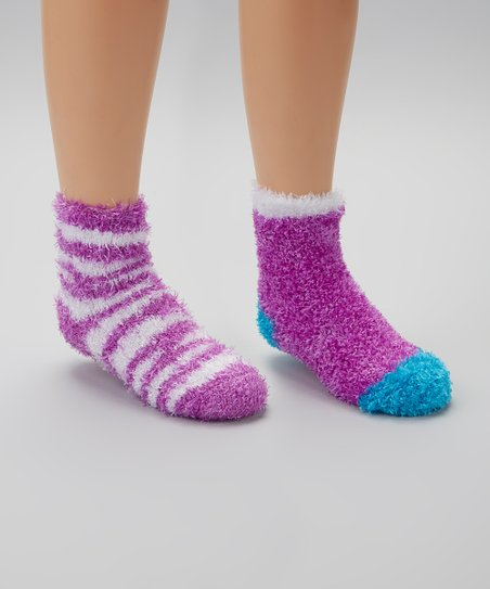 Purple Zebra Fuzzy Socks Set
