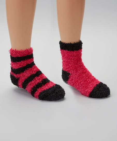 Pink & Black Stripe Fuzzy Socks Set