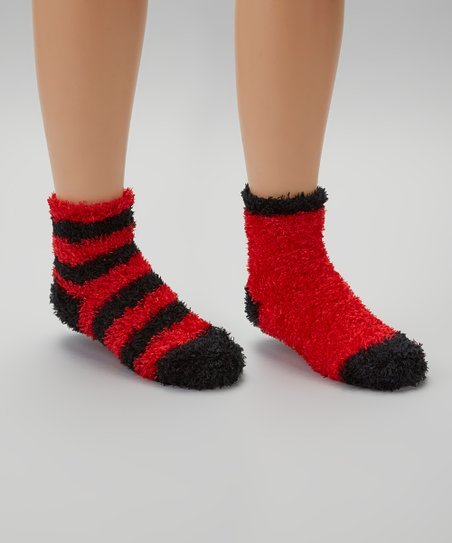 Red & Black Stripe Fuzzy Socks Set