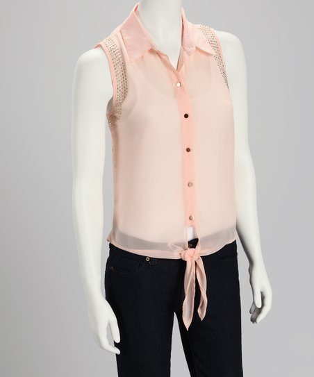 Blush Sheer Tie-Front Button-Up - Women
