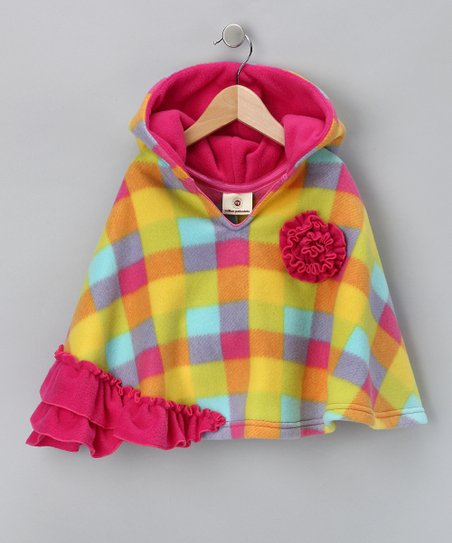 Yellow & Pink Plaid Ruffle Poncho - Infant, Toddler & Girls