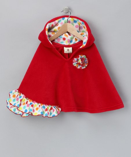 Red Polka Dot Ruffle Poncho - Infant, Toddler & Girls