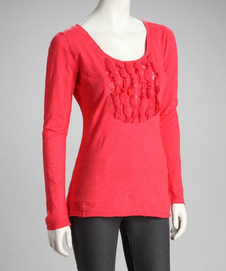 Coral Ruffle Long-Sleeve Top