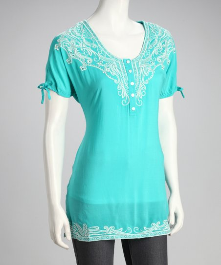 Turquoise Embroidered Top