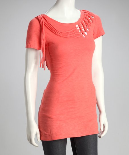 Coral Fringe Short-Sleeve Top
