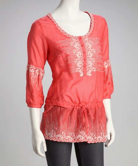 Coral Embroidered Drop-Waist Top