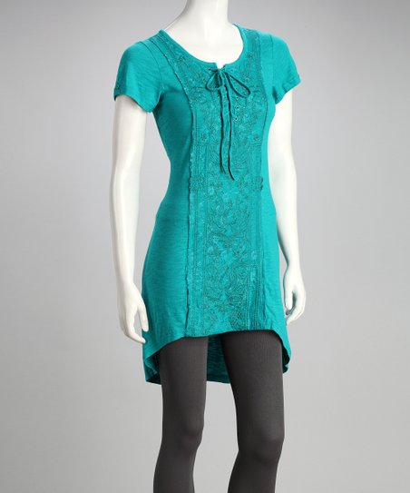 Green Tie-Front Hi-Low Tunic