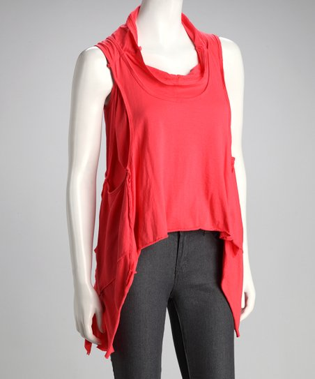 Coral Sleeveless Sidetail Top